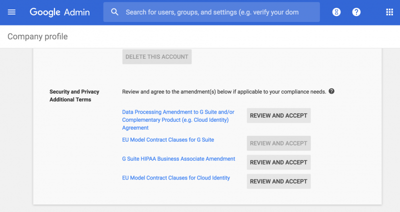 GSuite security, privacy and additional terms