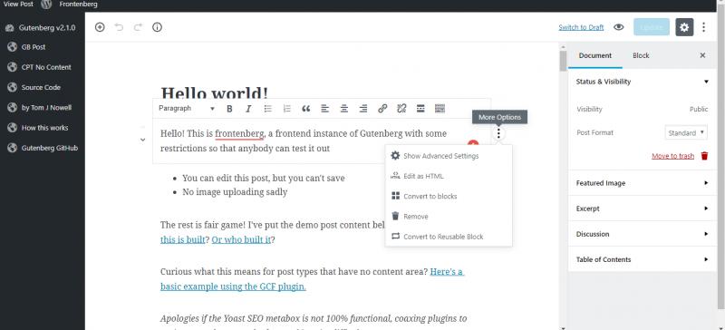 screenshot of advanced settings in gutenberg wordpress editor