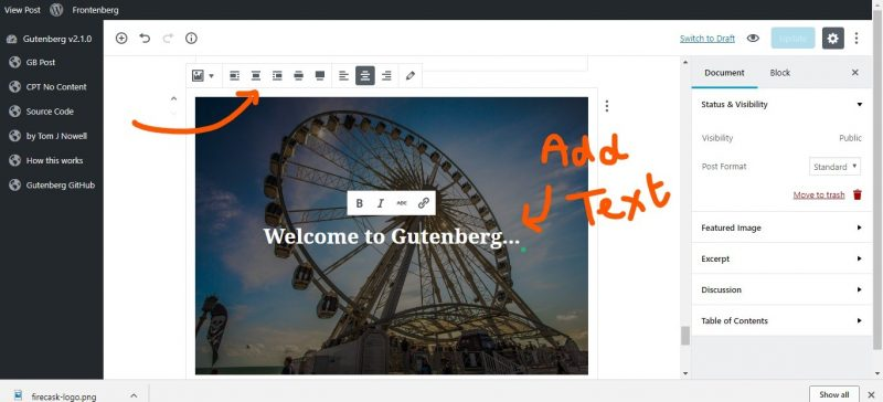 screenshot showing how to upload cover images to gutenberg wordpress editor