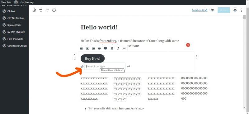 screenshot of cta buttons in gutenberg wordpress editorcta buttons in gutenberg wordpress editor