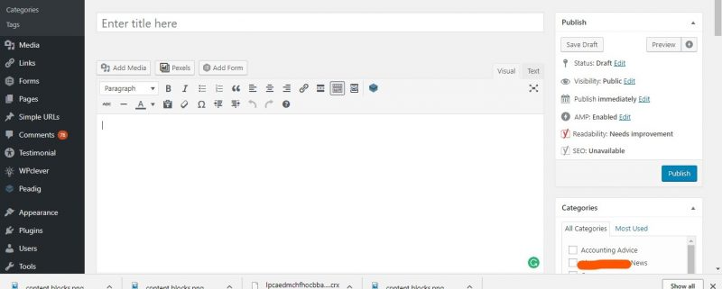 screenshot of wordpress editor