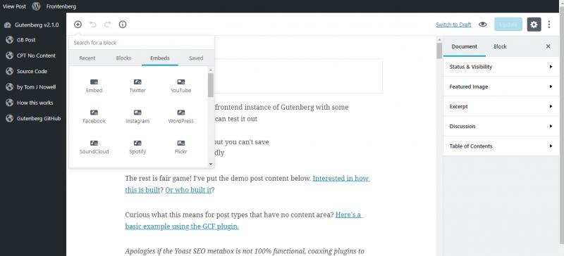 screenshot showing embedding in gutenberg wordpress editor