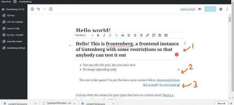a screenshot of gutenberg editor showing content blocks