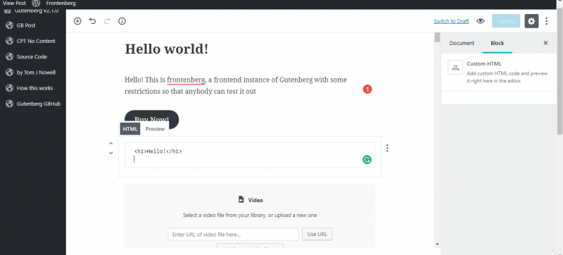 screenshot showing html block in gutenberg wordpress editor