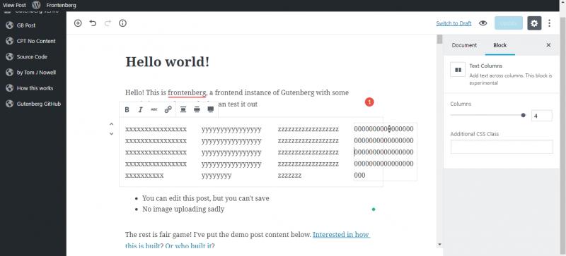 screenshot of text columns in gutenberg wordpress editor